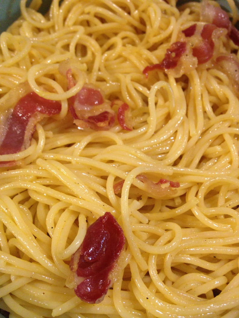 Spaghetti with carbonara (the real recipe)
