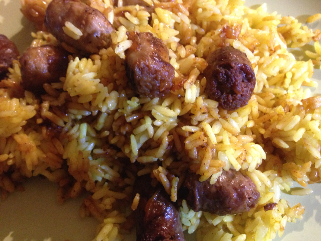 Curry rice and merguez